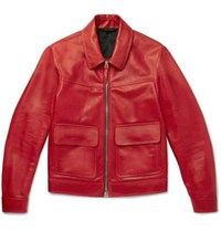 Tom Ford Leather Blouson Jacket Red