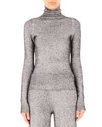 T By Alexander Wang Fitted Turtleneck Sweater Black White Black And White