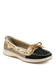 Sperry Angelfish Python Print Leather Boat Shoes Black Gold