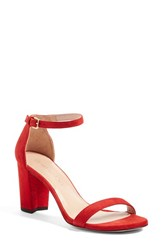 Stuart Weitzman Women's 'Nearlynude' Ankle Strap Sandal Red Suede