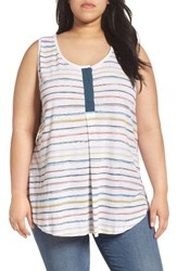 Caslonr Plus Size Women's Caslon Linen Blend Henley Tank Ivory Orange Stripe