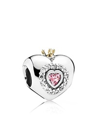 Pandora Design Pandora Charm Sterling Silver Cubic Zirconia And 14K Gold Princess Heart Moments Collection Pink Silver