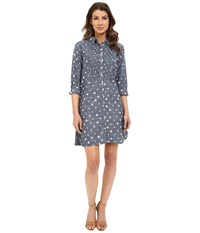 Hatley Cotton Shirtdress Sailboats Chambray Women's Dress Blue