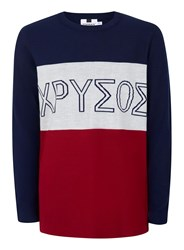 Topman Blue Navy White And Red Intarsia Print Jumper