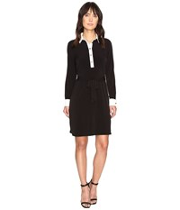 Ivanka Trump Matte Jersey Dress With Self Tie And Contrast Collar And Cuff Black Ivory Women's Dress