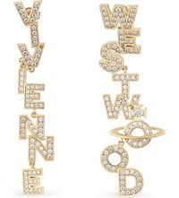 Vivienne Westwood Jewellery Soho Large Letter Stud Earrings Gold