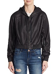 Elizabeth And James Leather Hooded Fringe Jacket Black
