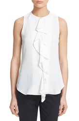 Women's Theory 'Jastrid' Sleeveless Ruffle Front Silk Blouse Ivory