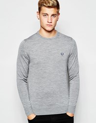 Fred Perry Jumper With Crew Neck In Merino Steel Marl Steelmarl