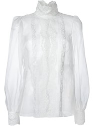 Dolce And Gabbana Floral Lace Bib Blouse White