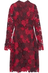 Mikael Aghal Guipure Lace And Organza Dress Burgundy