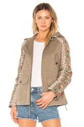 Needle And Thread Cross Stitch Flower Parka Green