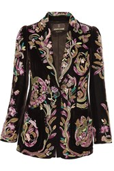 Roberto Cavalli Beaded Embroidered Silk Velvet Blazer Dark Brown