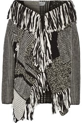 Maiyet Fringed Patchwork Wool Blend Sweater Black