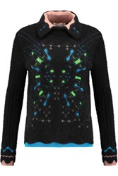 Peter Pilotto Snowflake Jacquard Knit Angora Blend Sweater Black