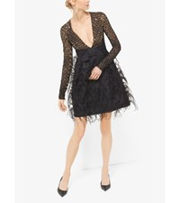 Sequin And Feather Embroidered Silk And Wool Mikado Dress