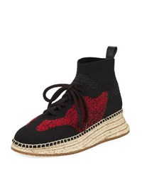 Alexander Wang Dakota Knit High Top Sneaker Black Red