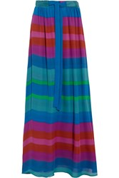 Etro Printed Silk Crepe De Chine Maxi Skirt Blue
