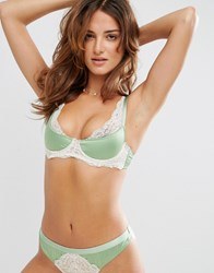Asos Valerie Satin Moulded Half Cup Bra With Lace Apple Green