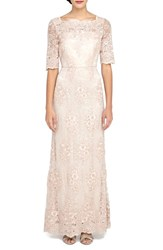 Women's Tahari Sequin Lace Fit And Flare Gown