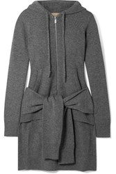 Michael Kors Collection Asymmetric Cashmere Hoodie Gray