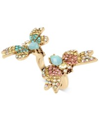 Betsey Johnson Gold Tone Multi Crystal Butterfly Ring