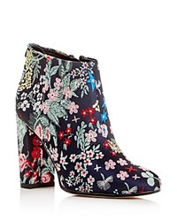 Sam Edelman Campbell Floral Jacquard Block Heel Booties Gray New
