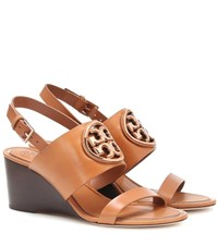 Tory Burch Miller Leather Wedge Sandals Brown