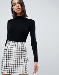 Lipsy 2 In 1 Dress With Checked Skirt In Mono Black