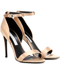 Stella Mccartney Satin Pumps With Ankle Strap Beige