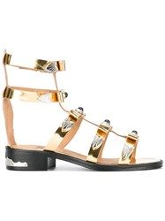 Toga Embellished Gladiator Sandals Metallic