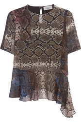 Preen Wilson Printed Silk Chiffon Top Animal Print