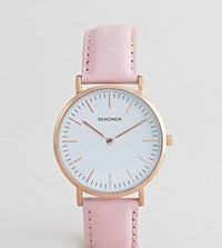 Sekonda Leather Watch In Pink Exclusive To Asos