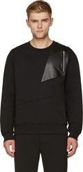 Mcq By Alexander Mcqueen Black Abstract Leather Panel Sweater