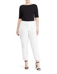 Lauren Ralph Lauren Plus Solid Mid Rise Cropped Cargo Pants White