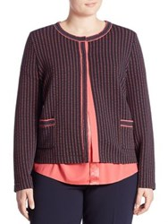 Basler Plus Size Waffle Textured Short Jacket Raspberry
