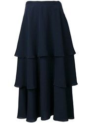 Stella Mccartney Soft Frill Tiered Skirt Blue