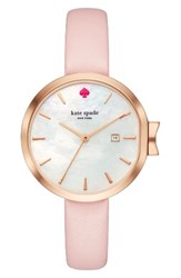 Kate Spade Women's New York Park Row Leather Strap Watch 34Mm Vachetta Mother Of Pearl