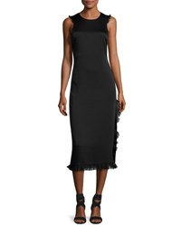 Elizabeth And James Adriene Cross Back Satin Midi Dress Black