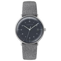 Junghans 54442904 Women's Max Bill Date Leather Strap Watch Grey Black