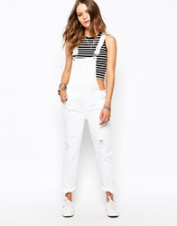 New Look Ripped Dungaree White