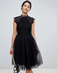 Chi Chi London 2 In 1 Lace Dress With Tulle Skirt In Black