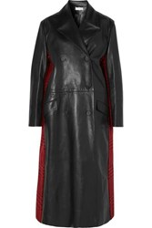 Alexander Mcqueen Double Breasted Leather And Houndstooth Wool Coat Black