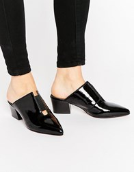 Asos Sweetness Leather Pointed Mules Black