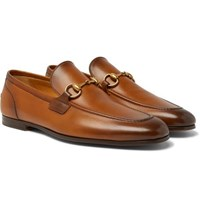 Gucci Jordaan Horsebit Burnished Leather Loafers Light Brown
