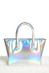 Forever 21 Faux Leather Iridescent Satchel Silver Multi