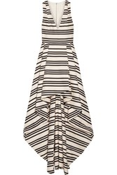 Alice Olivia Aveena Asymmetric Striped Cotton Blend Gown Cream