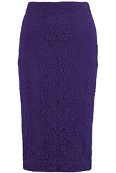 Badgley Mischka Embossed Stretch Jersey Pencil Skirt Purple
