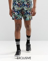 Reclaimed Vintage Festival Shorts In Tropical Print Black