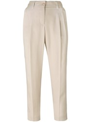 Blumarine Front Pleat Cropped Trousers Nude Neutrals